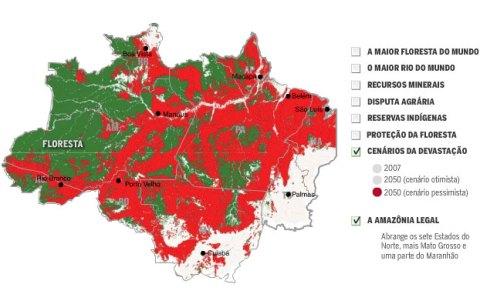 mapa da devastação da Amazônia